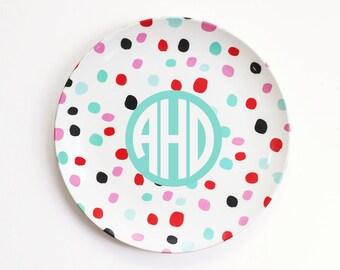 Personalized Kids Melamine Plate Monogrammed Plates Custom Child's Plate Monogram Birthday Plate Polka Dot Plate ThermoSāf® Polymer Plate