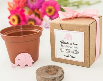 25 Elephant Baby Shower Favors Personalized for Girls or Boys - Plantable Seed Paper Elephants in pink, blue, or unknown gender baby showers