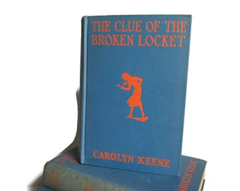 Vintage Nancy Drew The Clue of the Broken Locket No. 11 1934 by Carolyn Keene Hardcover First Edition Detective Stories Mystery Books
