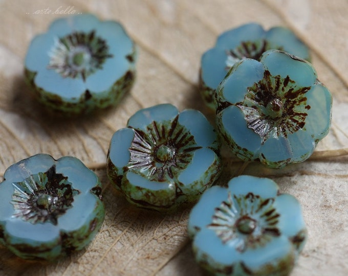LAGOON PANSIES No. 5 .. 6 Picasso Czech Glass Flower Beads 11-12mm (5285-6)