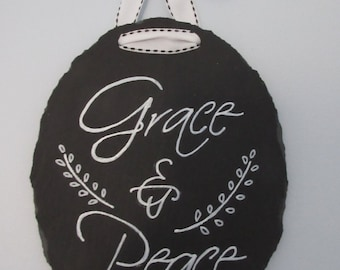 Christian Wall Art Home Decor Gallery Wall Grace and Peace Slate Chalkboard Art - Black and White