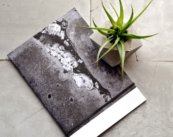 The Cube Gift Set of Recycled Paper A5 Concrete Texture Monochrome Notebook and Geometric Cement Air Plant Holder, Minimalist Gift Idea