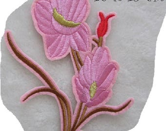 C5854 - Flower BOUQUET pink * 10 x 13 cm * Applique badge patch embroidered iron - iron