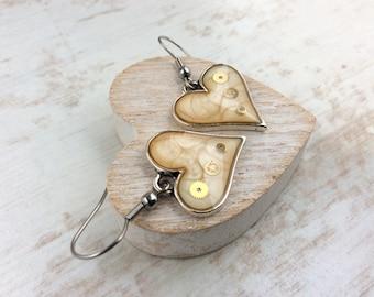 Cream Heart Earrings. Pale Earrings. Silver Heart Earrings. Steampunk Earrings. Clockwork Earrings. Watch Part Jewellery. Gift for Wife