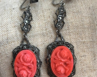 Antique Art Deco Sterling Silver Marcasite & Pressed Czech Coral Glass Earrings