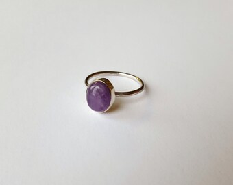 Sterling Silver & Amethyst Oval Cabochon Ring, Silver Amethyst Ring, February Birthstone Ring