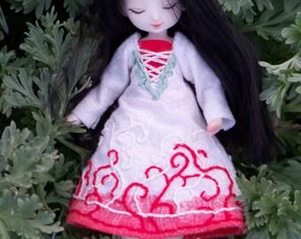 Miniature porcelain bjd art doll, little sleeping beauty in red and white dress, Meka 47/50 handmade bjd by ladymeow