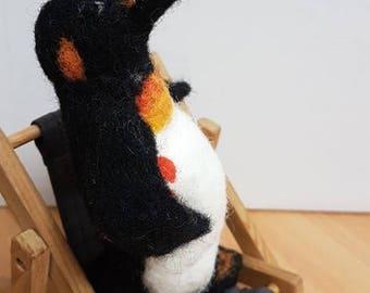 Penguin Totem, Personal Figurine, Needle Felted Penguin, Handmade Art Doll, wool miniature, waldorf toys, arctic, polar, gift for boys, toys