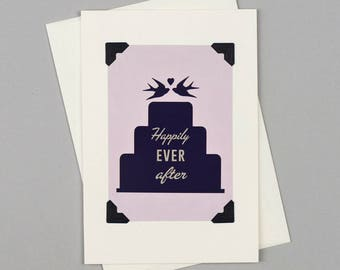 """Handmade Wedding Card """"Happily Ever After"""" in Vintage Style with Swallow Cake Illustration"""