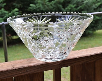 Vintage Star of David Glass Large Punch Bowl Pressed Glass Anchor Hocking Tea Party Wedding  PanchosPorch