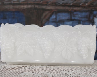 Anchor Hocking Milk Glass Grapes rectangle Planter  Vase Spoon Utensil Holder Shabby Cottage Flowers Fire King