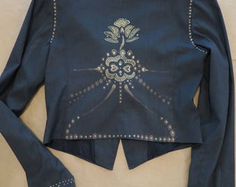 Up cycled blazer, tribal design, boho blazer, hand painted clothing, unique blazer, lotus blazer,   up cycled clothing, boho blazer