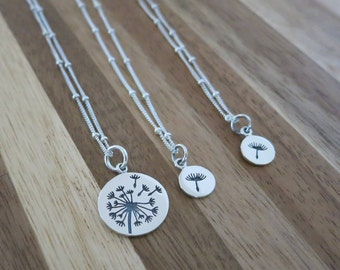 Dandelion Mother and daughter necklaces,Satellite chain,Make a wish for Mother daughter,Wish necklace,Make a wish,Mother and Daughter