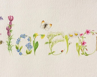 Custom Floral Name painting. Hand drawn and painted in watercolours.