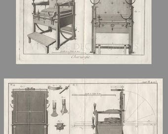 Antique Surgical Engravings, Two Rare 1779 Engravings of a Surgeons Operating Chair, Rare Gift for a Doctor or Physician