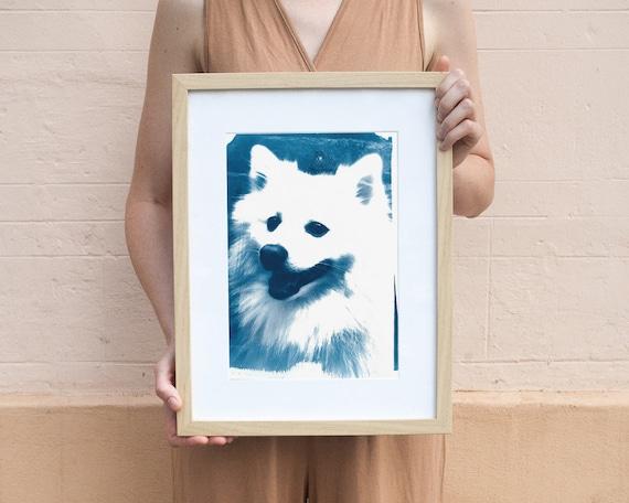 Japanese Spitz Dog, Cyanotype Print, Dog Breed, Dog Portrait, Dog Lover Gift, Spitz Dog Print, Animal Lover, Dog Lover Gift, Dog Art, Funny