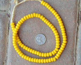 Padre Glass Beads: Yellow  (6x8mm)