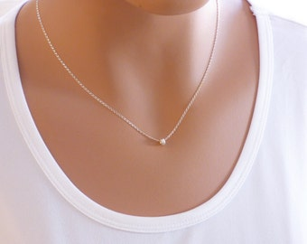 Silver Minimalist Necklace, Silver Necklace, Sterling Silver, Delicate Necklace, Tiny Hoop Necklace, Simple Necklace, Everyday Necklace