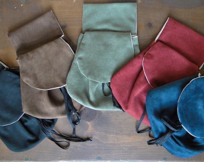 Renaissance Belt Bag, Faux Suede or Linen Fabric, Womens Medieval Purse - Choose Your Color!