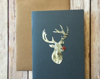 Reindeer Rudolph Hand Crafted Christmas Card - Birch Wood