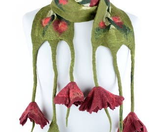 Green nuno felted scarf for spring & summer with red flowers - lightweight felt scarf made of wool and silk - romantic women scarf [S9]