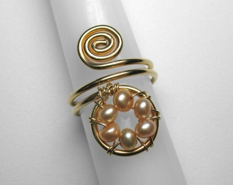 Pearl Knuckle Ring in Gold