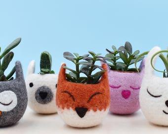 Cactus pot, kitsune vase, Succulent planter, Animal planter, Fox planter, back to school, Fox lover gift, gift for her