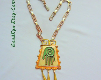 1960s Mixed Metal Pendant Necklace / Large Open Hand Bohemian / Mexico Copper Brass Silver Green Enamel marked NVA