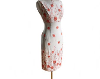 Vintage 60s wiggle dress/ embroidered linen dress/ 1960s white dress/ coral floral embroidery on white/ preppy summer dress