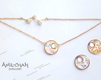 Charm bracelet - Moon - Zodiac - Celestial - Gold - Gold flake - constellation - Bracelet for women - Bracelet - Minimalist -  Holographic
