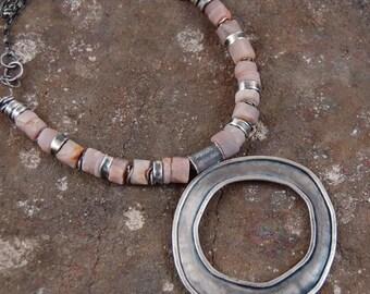 sunstone silver necklace, raw sunstone, oxidized silver, statement pendant necklace, modern jewelry