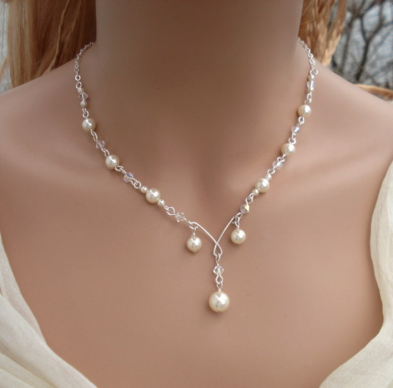Elegant Bridal Jewelry Set Wired Crystal CreamIvory Pearl