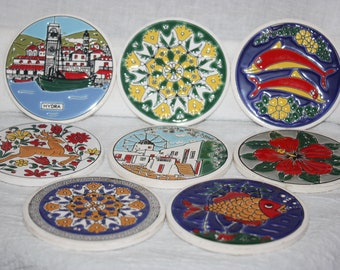 Vintage Set of Eight Knossos Handpainted Coasters Greece