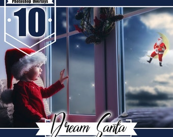 Flying santa overlay, Christmas New Year overlays, Santa on moon, snow overlays, Photoshop Overlay, fairy dreamy fantasy overlays, png file