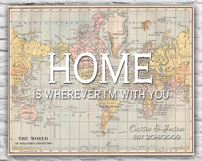 Couples Name Home Is Wherever Long Distance Relationship Print Personalized Mothers Day Gift, Military Deployment Boyfriend Husband Far Away