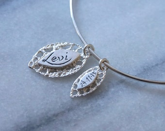 Personalized Mother Child charm bracelet bangle in sterling silver