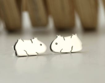 Sterling Silver Guinea Pig Earrings - Guinea Pig Stud Earrings