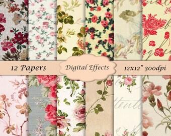 """VINTAGE Floral Digital Paper, 12x12"""" Scrapbook Paper Pack, Antique Floral Digital Download, Digital Floral Paper, Digital Paper Pack of 12"""
