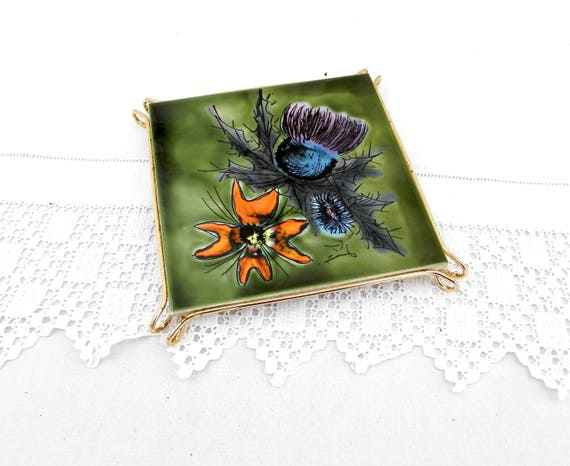 Vintage French Mid Century Retro 1950s / 1960s Hand Painted Vallauris Ceramic Tile with Metal Frame Heat Mat / Trivet Kitchenware, Kitchen