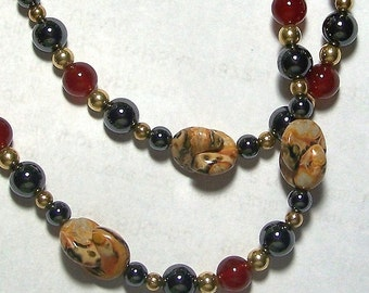 Earthy Landscape Jasper Interlocking Moon Beads with Hematite and Carnelian Beads Necklace by Carol Wilson of Je t'adorn