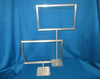 TWO Sturdy Metal Store Display Counter Sign Stand Holders Lot A