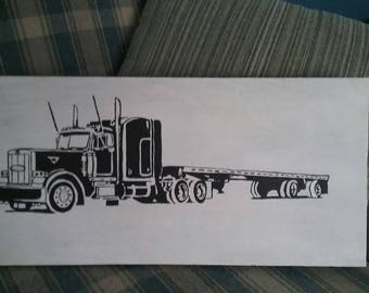 Peterbilt truck with a flatbed. Hand-painted from reclaimed wood. Handpainted sign of a semi truck