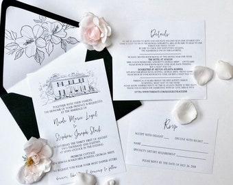 Wedding Venue Watercolor, Custom Venue Drawing, Wedding sketch, Wedding Illustration, Sketched Wedding Venue