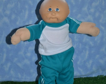 """Cabbage Patch Clothes - Handmade for 16"""" - 18"""" Boy Dolls - Teal Sweats Outfit"""