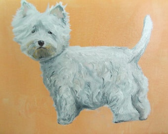 West Highland Terrier - signed original oil painting on canvas