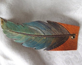 Hand Painted Handmade Leather Feather Cuff Bracelet or Scarf Cuff