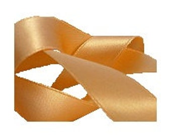 """5/8"""" Toffee Cream Satin Ribbon, Double Face Satin Ribbon, 1960's Vintage Sewing Millinery Supply"""
