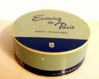 Vintage 1950s Evening in Paris by Bourjois 5 oz Perfumed Dusting Powder After Bath Powder