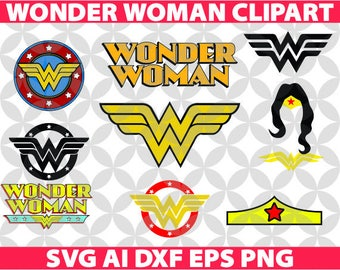 Wonder Woman SVG, Eps Ai Dxf Png Monogran Silhouete Cricut Clipart Decal
