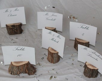 Wood Place Card Holders, Wood Table Number Holders- Set of 15- rustic wedding decor, outdoor wedding, nature party, green wedding